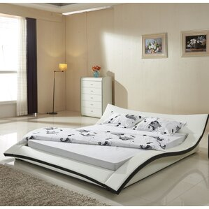California King Upholstered Platform Bed by Container