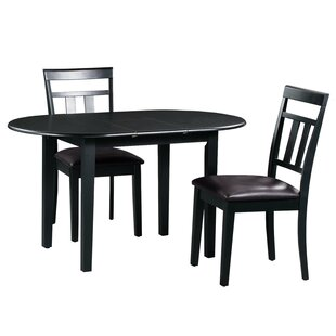 Forsyth 3 Piece Extendable Solid Wood Dining Set by Alcott Hill Discount