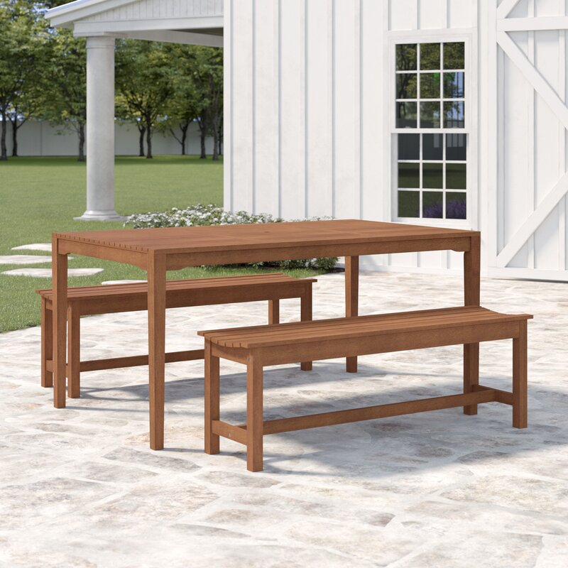 Astounding Tovar Bench 3 Piece Dining Set Gmtry Best Dining Table And Chair Ideas Images Gmtryco