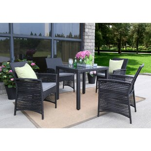 Collingwood Backyard Steel Frame 5 Pieces Dining Set with Cushions by Bay Isle Home