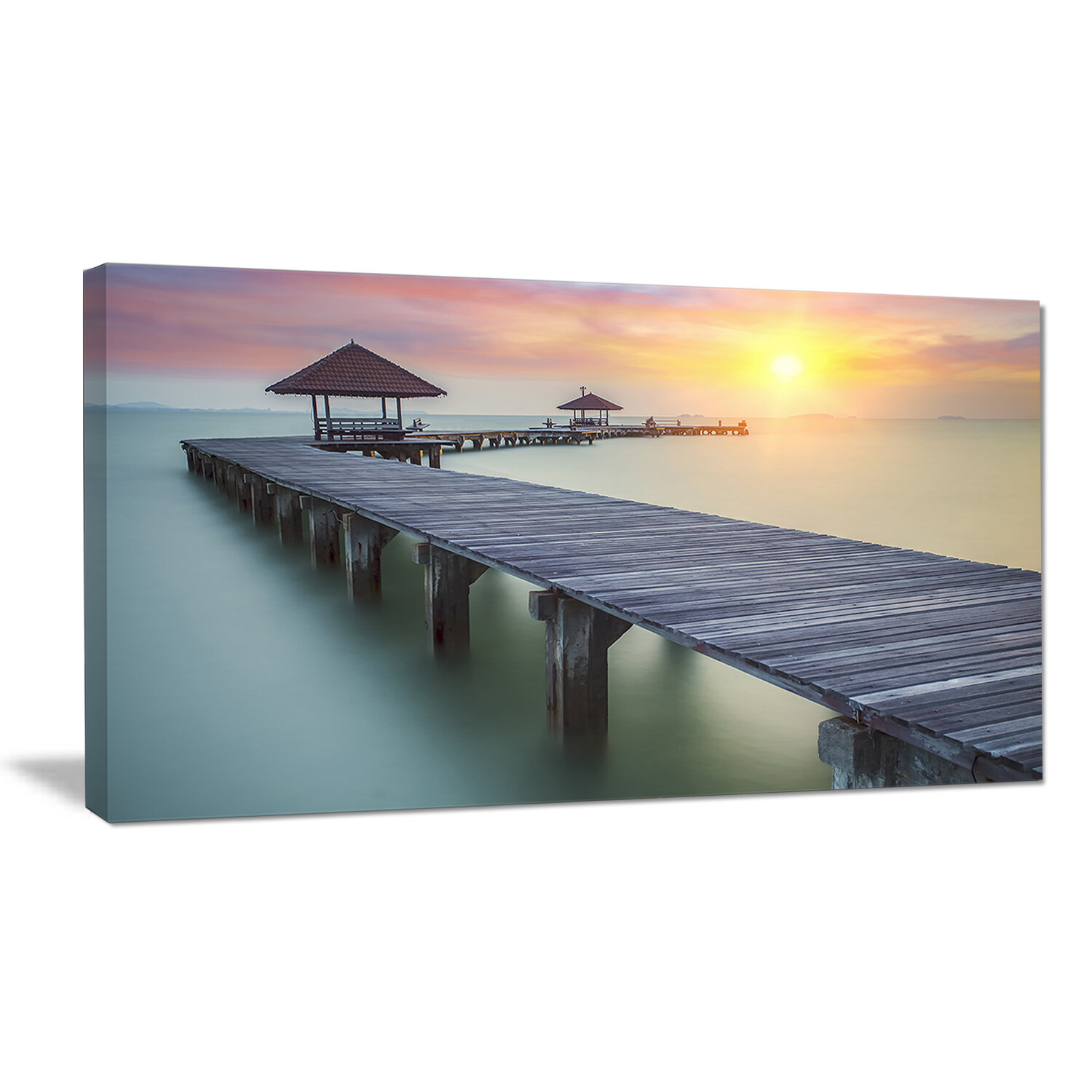 Bay Isle Home Long Wooden Bridge Into The Sunrise Sea Pier Photographic Print On Wrapped Canvas Wayfair