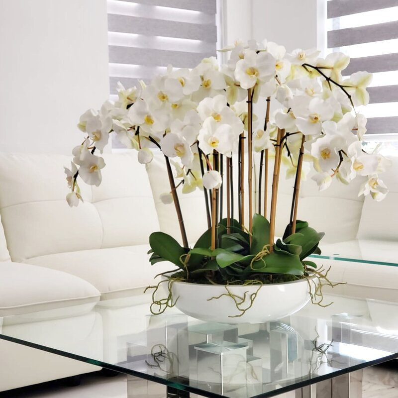 Home Furniture Diy Orchid Planter White In Black Modern Pot Faux Fake Artificial Flower Table Decor Kisetsu System Co Jp