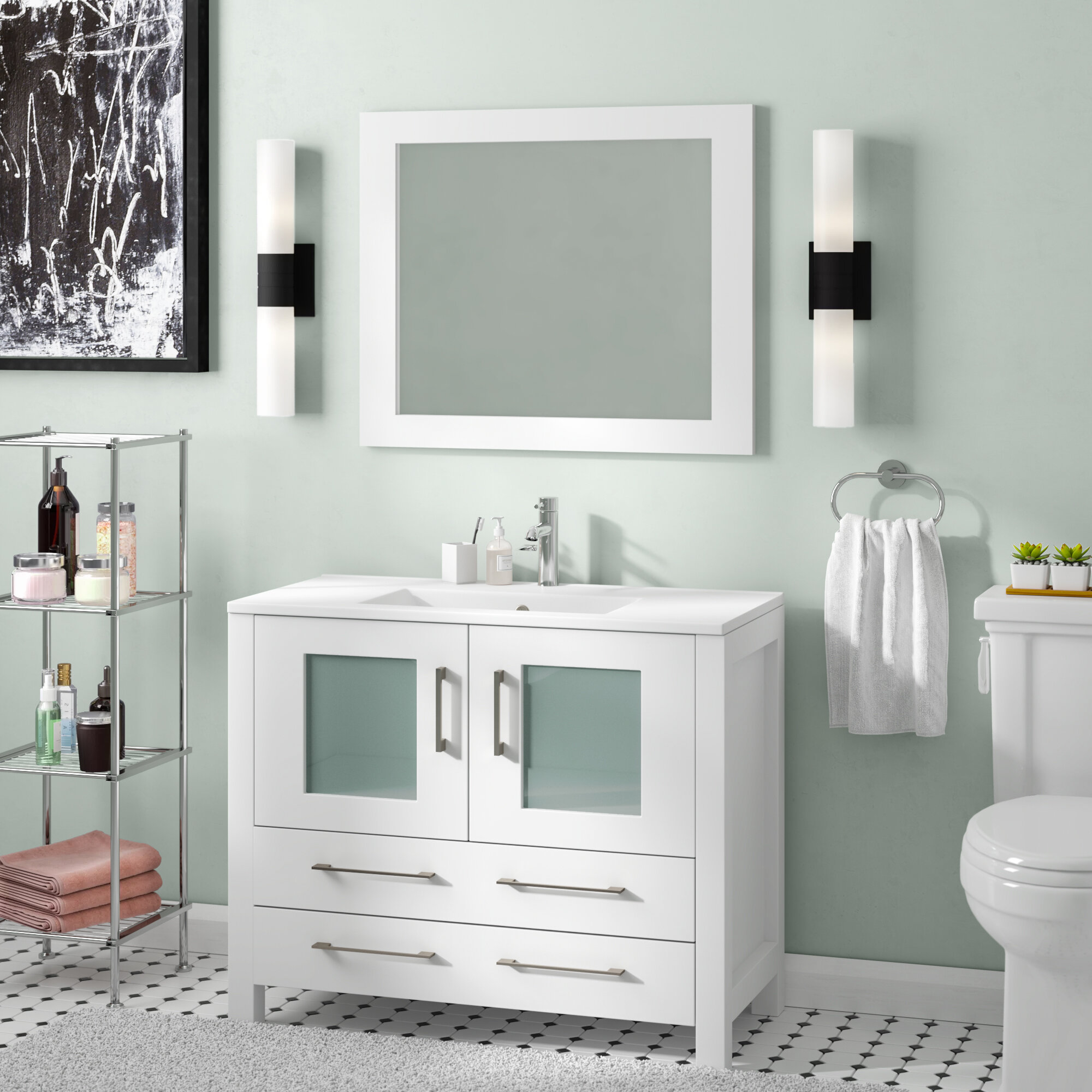 Wrought Studio Bove 36 Single Bathroom Vanity Set With Mirror Reviews Wayfair