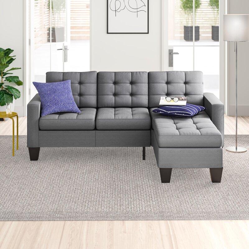 "Zipcode Design™ Clem 81"" Linen Reversible Sofa & Chaise With Ottoman & Reviews | Wayfair"