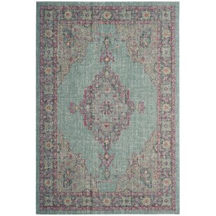 Bunn Light Blue/Navy Area Rug by Mercury Row