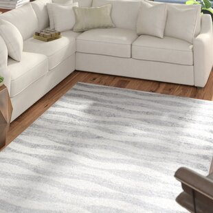 Bargain Lada Abstract Waves Gray/White Area Rug By Mercury Row