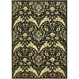 Affordable Price One-of-a-Kind Huntingdon Hand-Knotted  6'7 x 9'6 Wool Black Area Rug By Isabelline