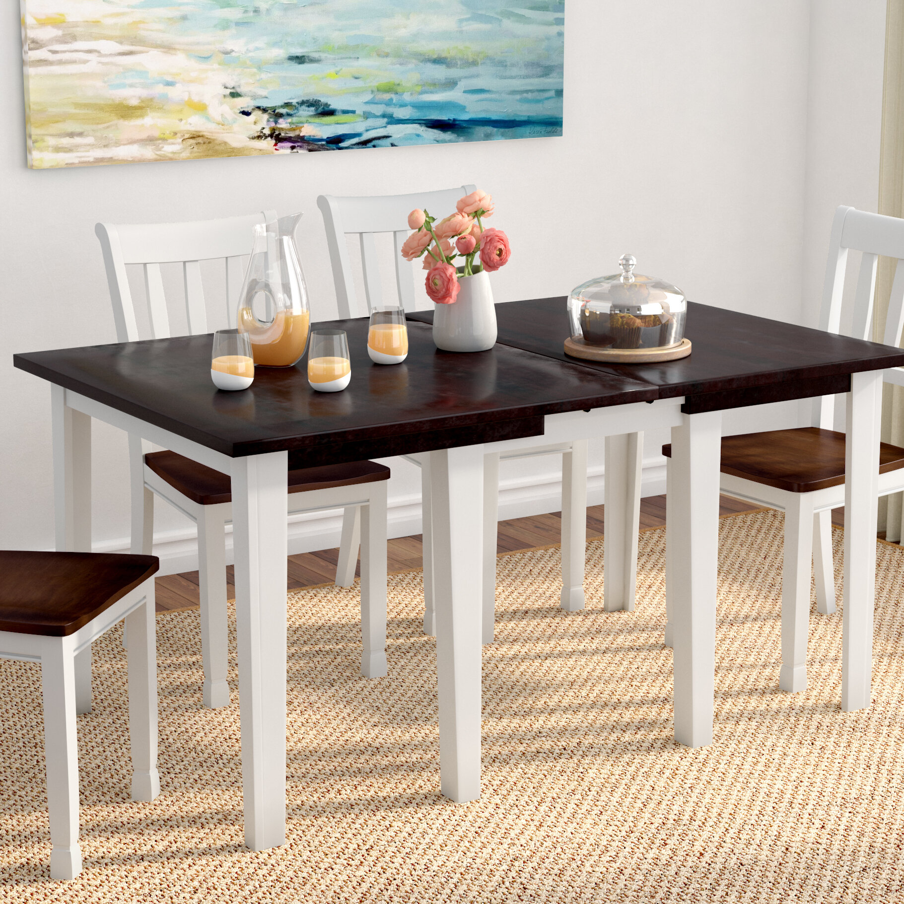Beachcrest Home Tamiami Solid Wood Extendable Dining Table Reviews Wayfair
