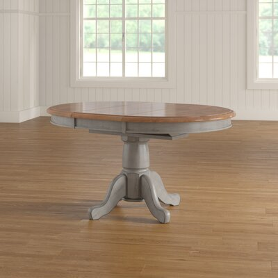 Wonderly Pedestal Extendable Solid Wood Dining Table August Grove