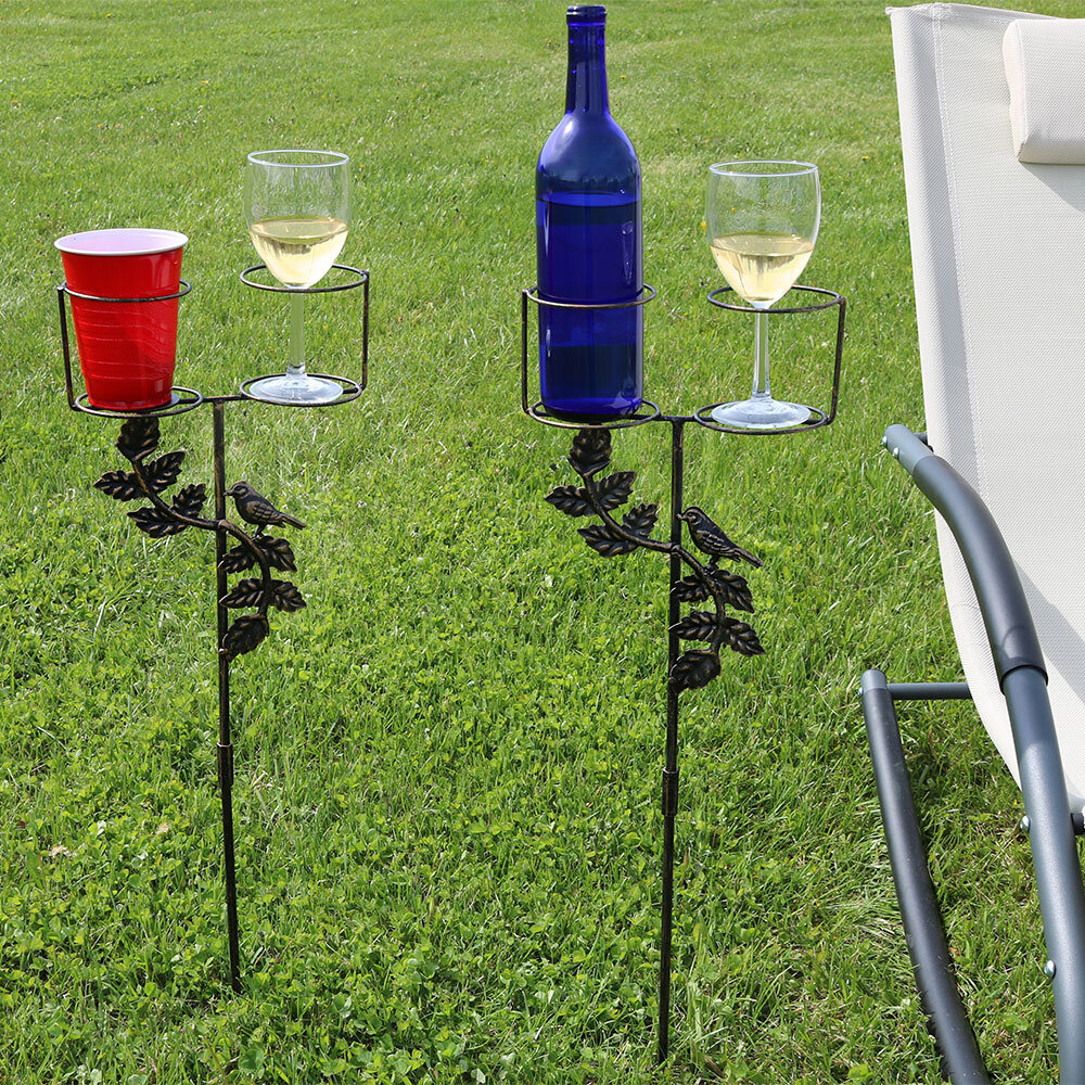 SunnyDaze Decor Drink Holder Garden Stake with Decorative Accents ...