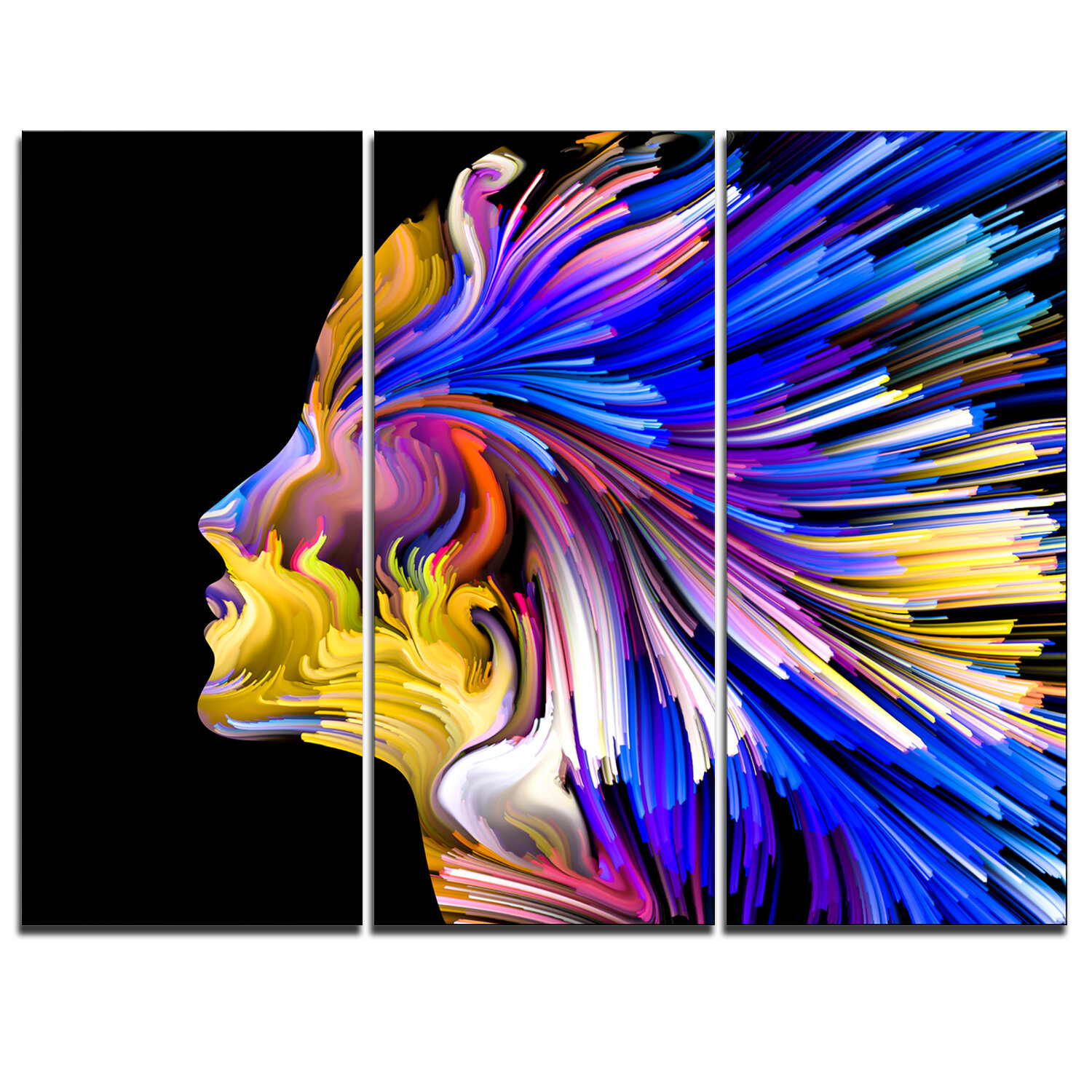 Designart Imagination In Blue 3 Piece Graphic Art On Wrapped Canvas Set Wayfair