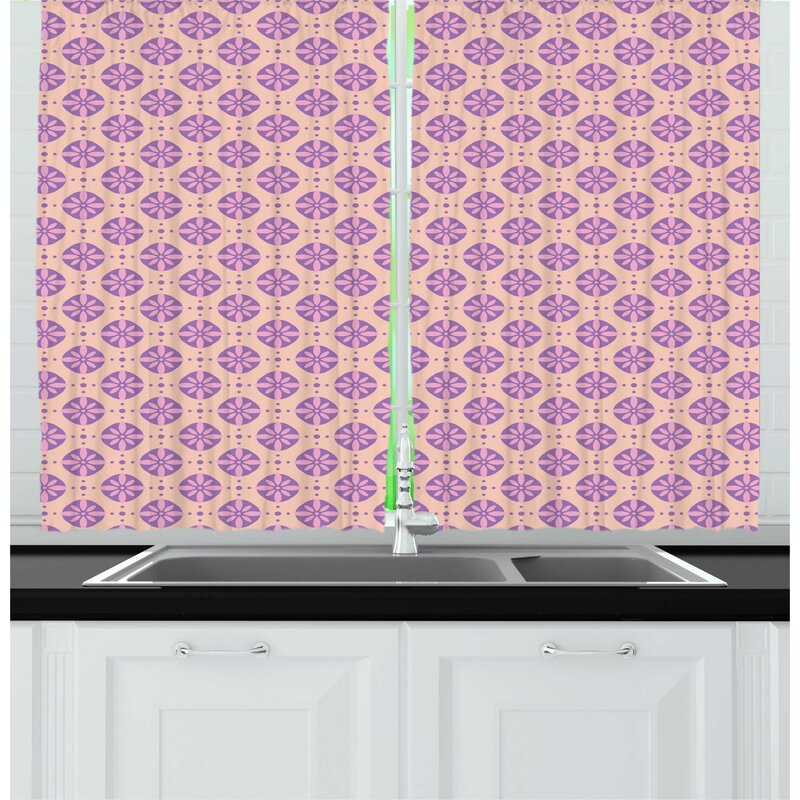 East Urban Home Floral Abstract Flower Petals Inside Circles Aster Calendula Bouquets Spring Revival Kitchen Curtain Wayfair