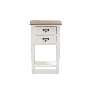 Reviews Cirebon Weathered 2 Drawer Nightstand by Gracie Oaks