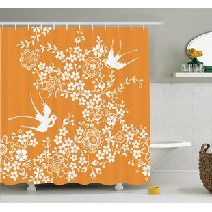 Barhop Oriental Floral Japanese Birds Exquisite Asian Pastel Spring Pattern Art Single Shower Curtain