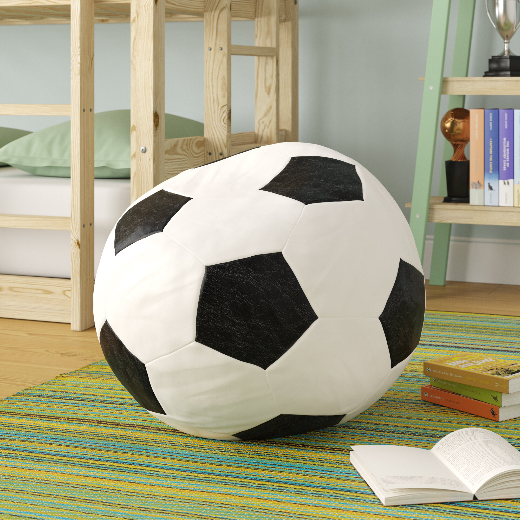 Faux Leather Football Bean Bag Chair