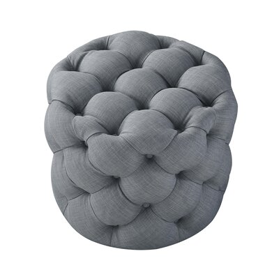 House of Hampton Mucha Tufted Cube Ottoman Upholstery Material/Body Fabric: Linen, Upholstery Color: Light Gray