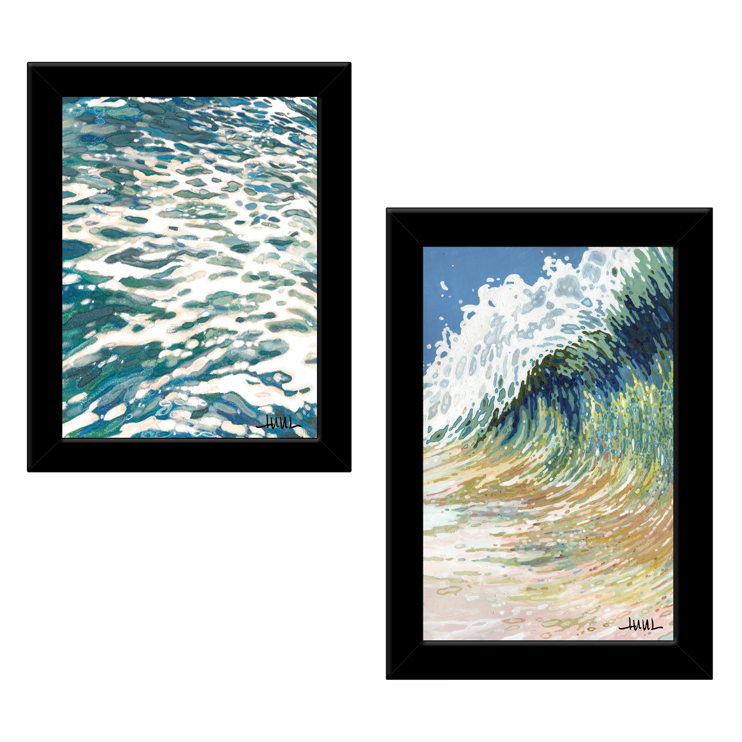 Dovecove Big Wave By Margaret Juul 2 Piece Picture Frame Painting Set Print On Paper Wayfair