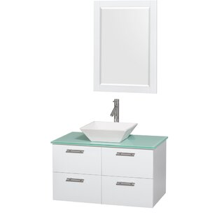 Amare 36 Single White Bathroom Vanity Set with Mirror By Wyndham Collection