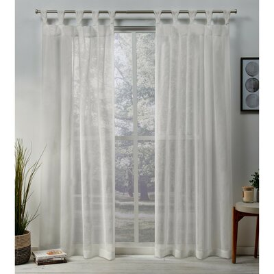 Highland Dunes Mirfield Braided Solid Color Sheer Tab Top Curtain Panels Size: 84 x 50, Curtain Color: Snowflake