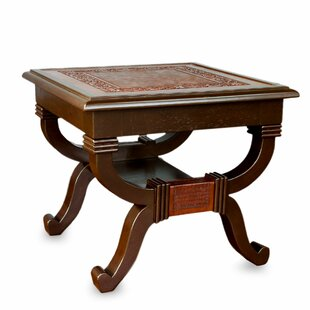 Fern Garland Mohena Wood and Leather End Table