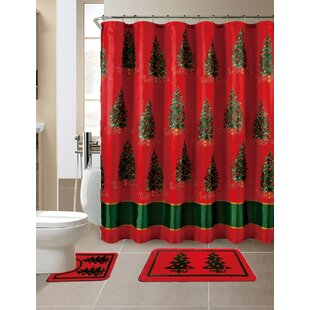 15 Piece Christmas Printed Shower Curtain Set by The Holiday Aisle