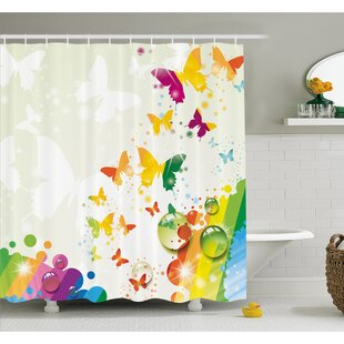 Silhouettes of Butterflies Freedom Icons of the Nature Festival Artwork Shower Curtain Set