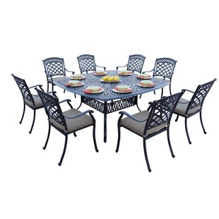 Circleville 9 Piece Dining Set with Cushions by Fleur De Lis Living