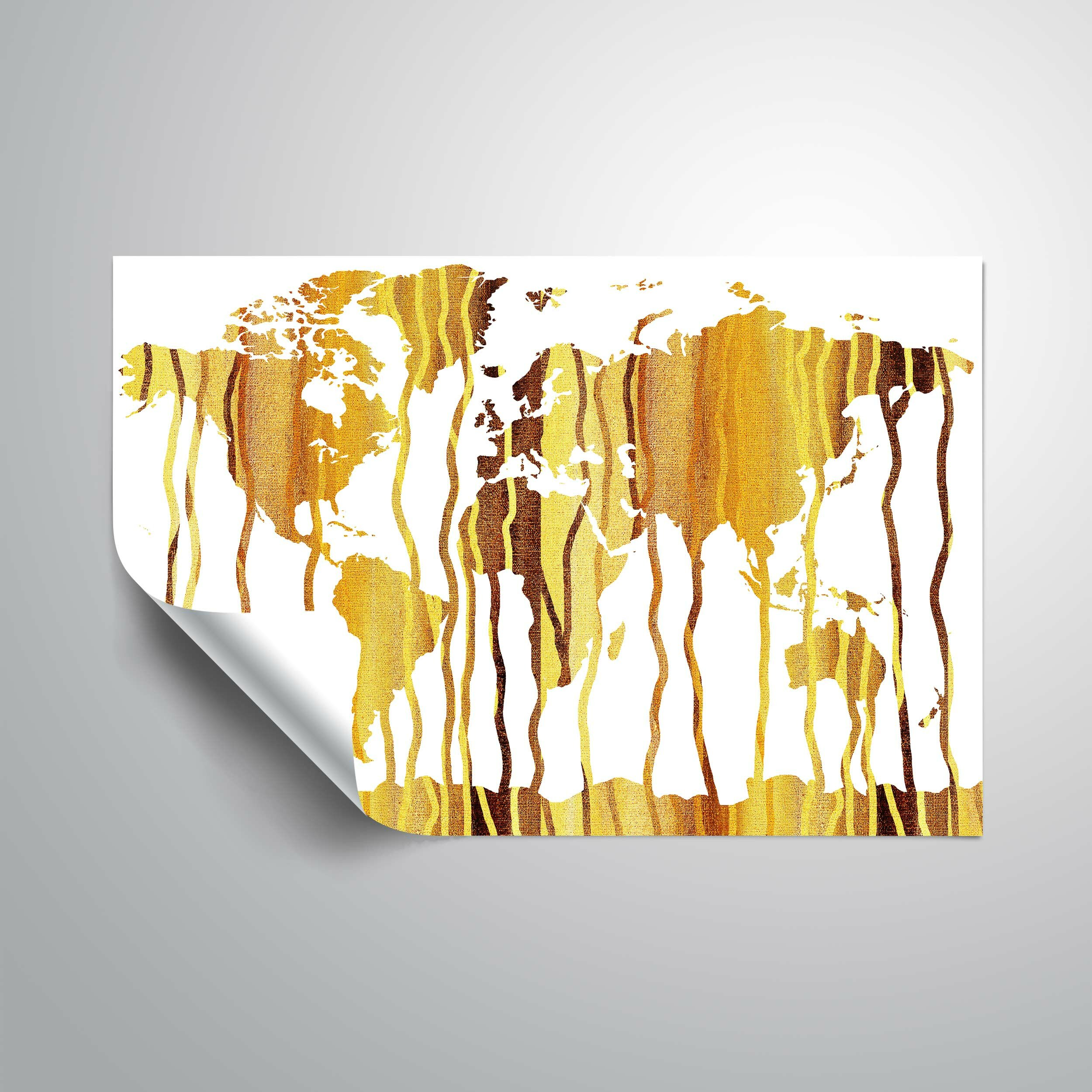 Bloomsbury Market Mehara Earthy Rain World Map Wall Decal | Wayfair