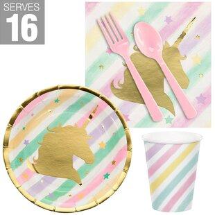 80 Piece Unicorn Sparkle Snack Paper Disposable Party Supplies Set