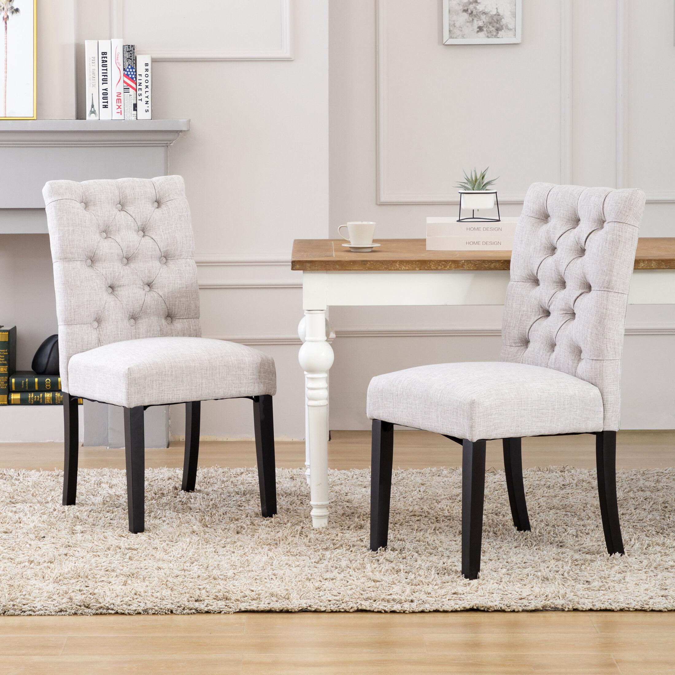 Red Barrel Studio Arahi Tufted Linen Upholstered Parsons Chair Wayfair