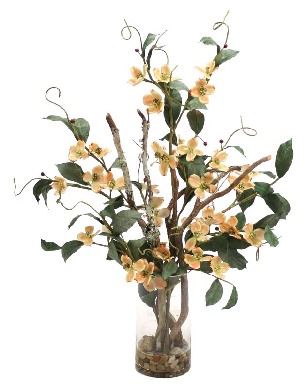 Distinctive designs waterlook silk dogwood with branches in tall waterlook silk dogwood with branches in tall cylinder vase mightylinksfo Image collections