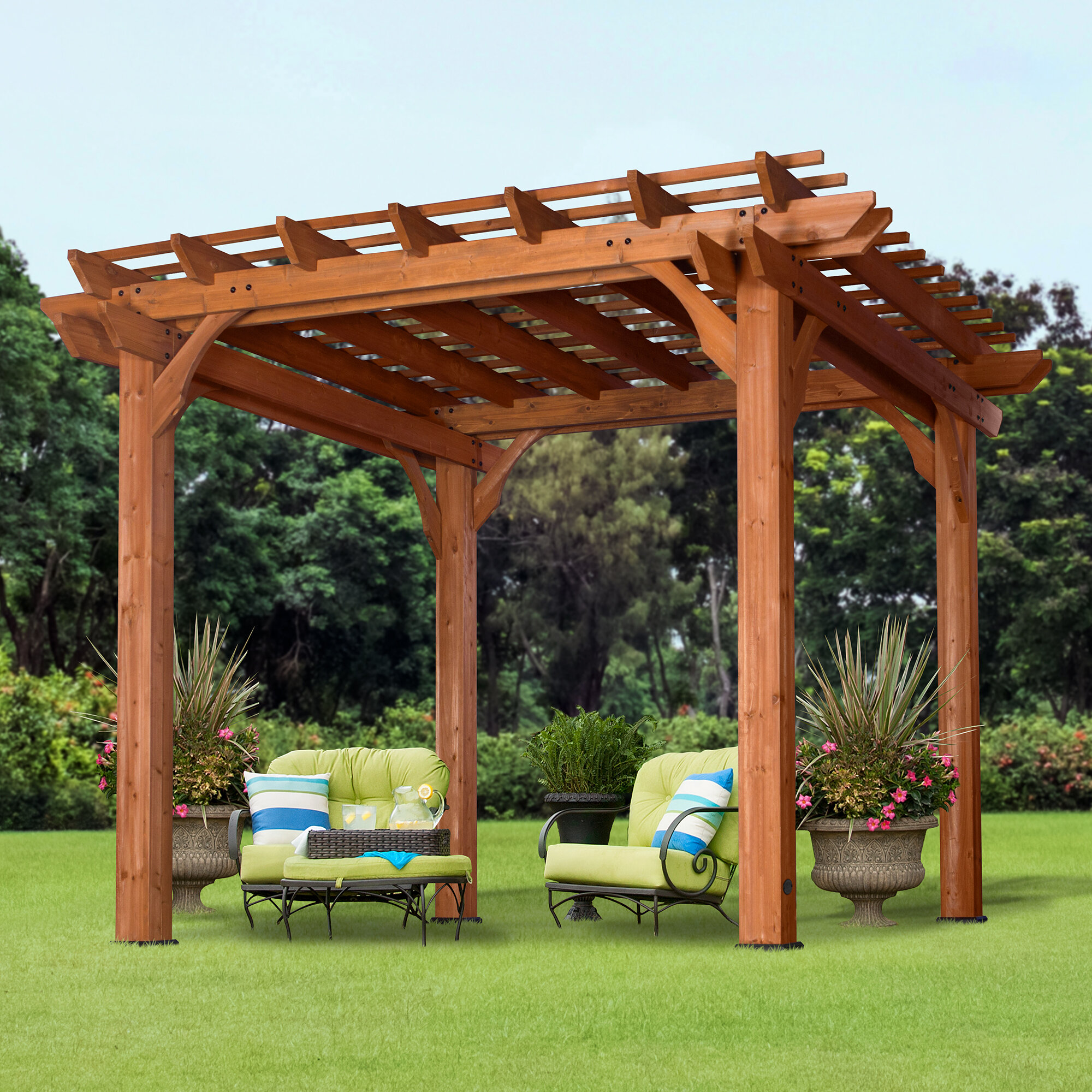 Backyard Discovery Cedar 10 Ft W X D Solid Wood Pergola Reviews Wayfair