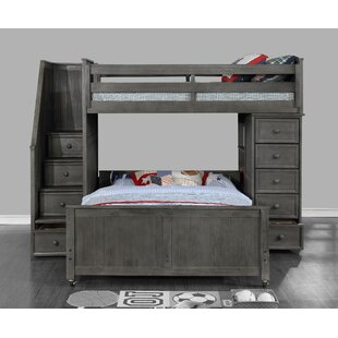 Forest Twin Over Full L-Shaped Bunk Bed with Bookcase