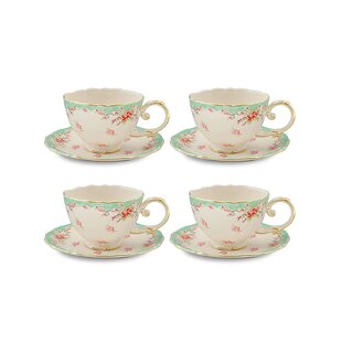 Hemby Vintage Green Rose Porcelain 7 oz. Tea Cup and Saucer (Set of 4)