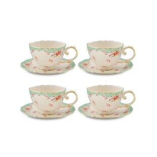 Hemby Vintage Green Rose Porcelain 7 oz. Tea Cup and Saucer (Set of 4)