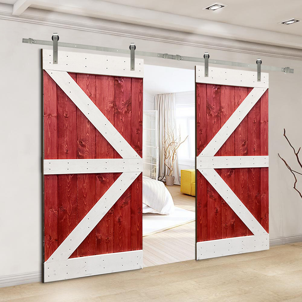 Calhome Paneled Wood And Metal Painted Double Barn Door With Installation Hardware Kit Wayfair