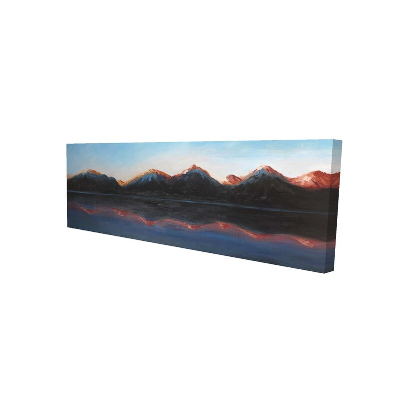 Millwood Pines Reflection Of The Mountains On The Water Acrylic Painting Print On Wrapped Canvas Wayfair
