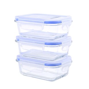 Go Green Glasslock Elements Oven Safe Rectangular 12 Oz. Food Storage Container (Set of 3)