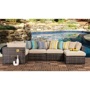 Hart Outdoor 6 Piece Wicker Sectional Seating Group with Cushions by Bayou Breeze