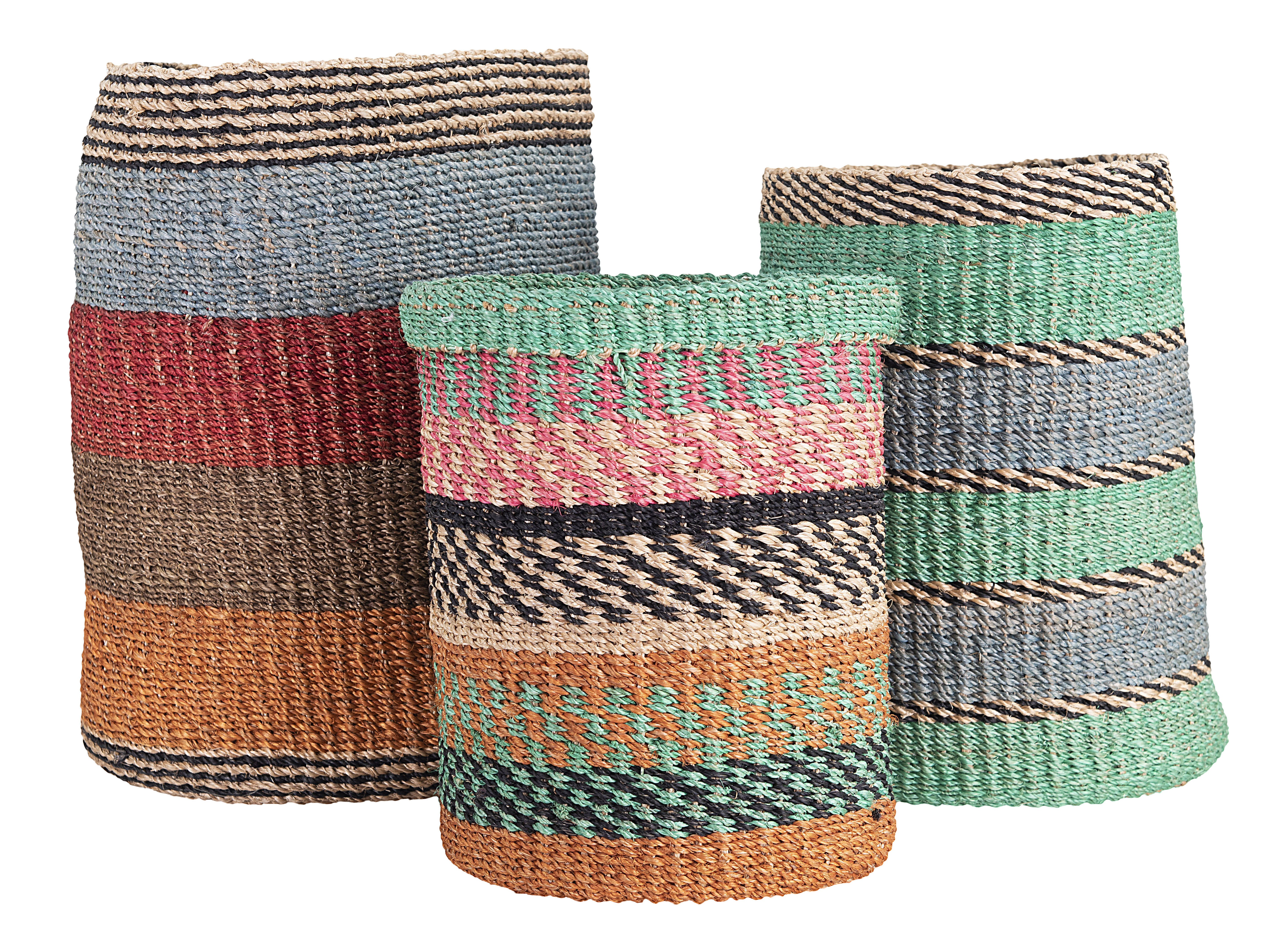 Abaca Stripes 3 Piece Wicker Rattan Basket Set Reviews Allmodern