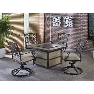Carleton 5 Piece Firepit Set with Cushions