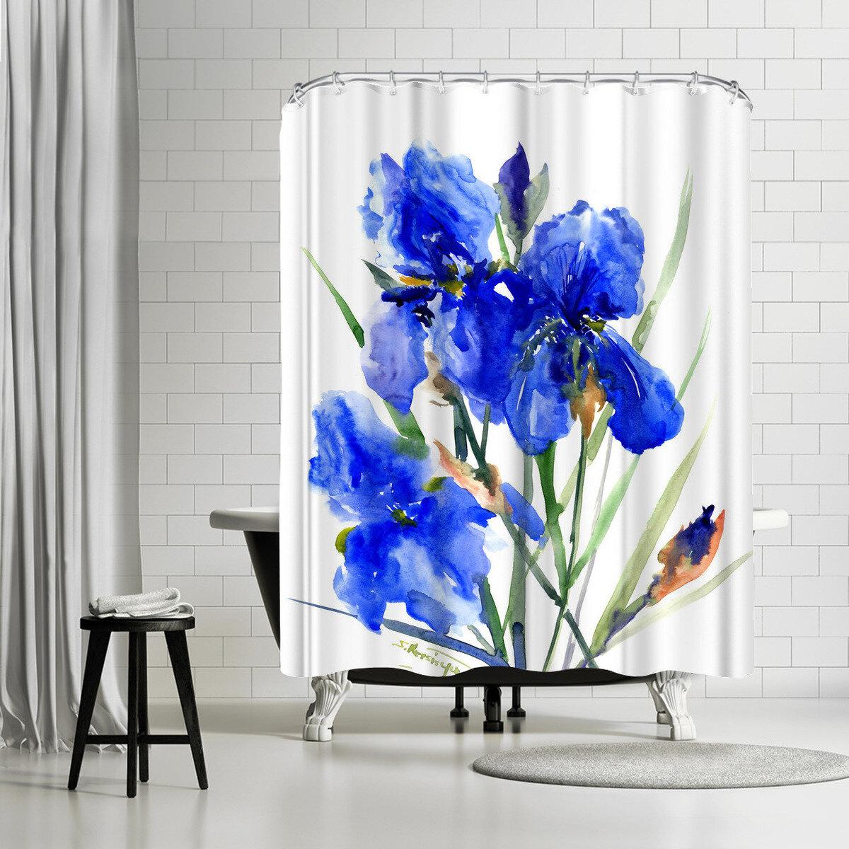 East Urban Home Suren Nersisyan Iris Flowers 2 Single Shower Curtain Wayfair