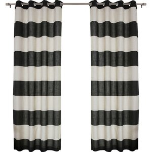 Classic Striped Semi-Sheer Grommet Curtain Panels (Set of 2)
