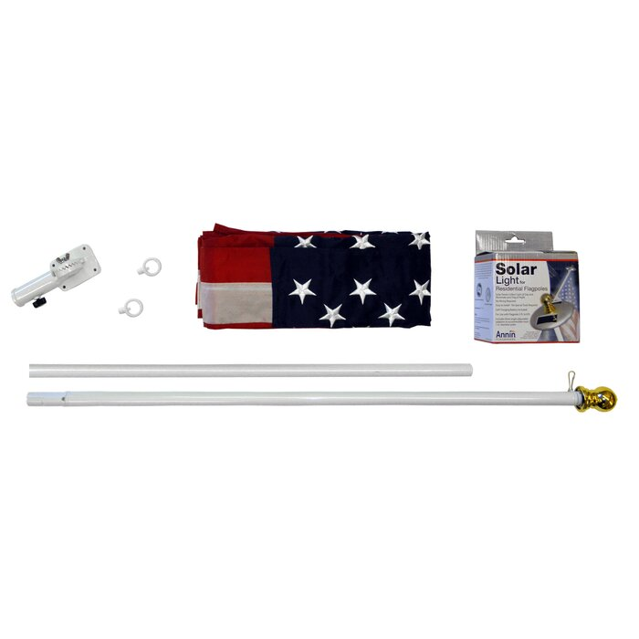 Spinning Flagpole with US Flag and Mini Solar Light Set on