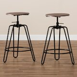 Dearborn Swivel Adjustable Height Bar Stool (Set of 2) by Williston Forge