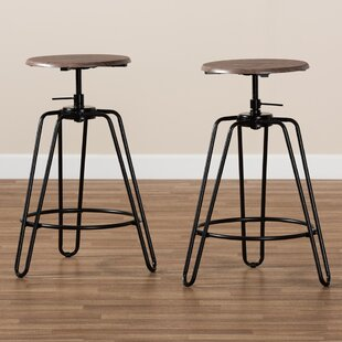 Dearborn Swivel Adjustable Height Bar Stool Set of 2 by Williston Forge