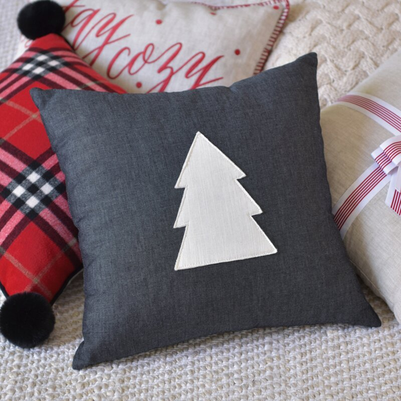 Style Me Pretty Tree On Chambray Square Pillow Cover Insert Wayfair