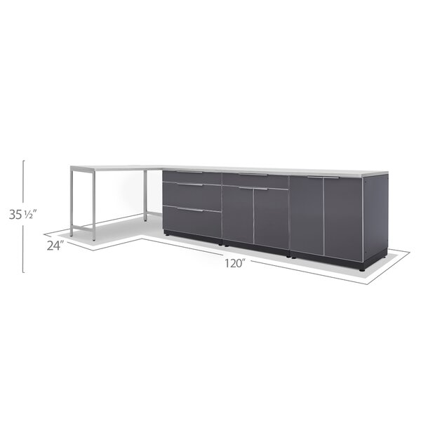 Newage Products Outdoor Kitchen Cabinets 184 W X 24 D 5 Piece Set In Slate Gray With Covers Wayfair