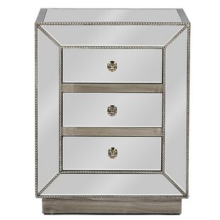 Maiorano Contemporary Mirrored 3 Drawer Nightstand by Rosdorf Park