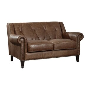 Lucas Leather Loveseat by Williston Forge